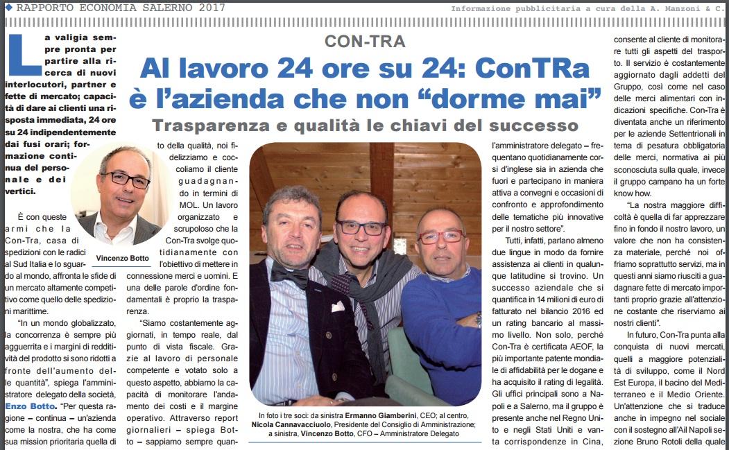 """Rassegna Stampa – Repubblica – Al lavoro 24 ore su 24: Con-Tra  è l'azienda che non """"dorme mai"""""""