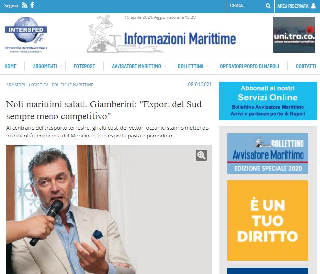 """Noli marittimi salati. Giamberini: """"Export del Sud sempre meno competitivo"""""""